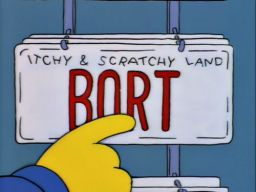 "Bort License Plate, -""Itchy and Scratchy Land"""