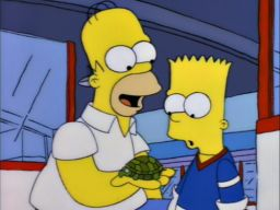 """Well, boy, you won. So I'm going to live up to my side of the agreement: here's your turtle, alive and well."", -""Lisa on Ice"""