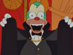 Krusty:   [Transylvanian accent] Hey, hey, tonight I'm going to suck!          [cue card boy flips to next card]          [normal voice]  Your blood.http://bit.ly/v7VZr1