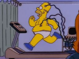 "Homer on the treadmill, -""The Springfield Files"""
