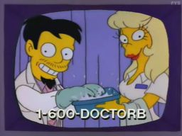 """Call 1-600-DOCTORB.  The B is for Bargain!"", -""Homer's Triple Bypass"""