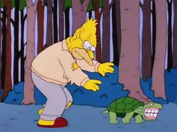"""I've been here for four days and         that turtle's got all of my teeth!"", -""The Springfield Files"""